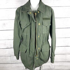 H&M   Green Cinched Waist Cargo Pocket Winter Coat 2